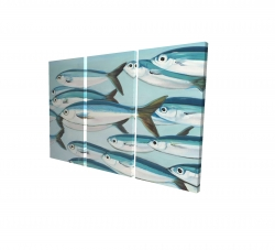 Canvas 24 x 36 - 3D - Small fish of caesio caerulaurea