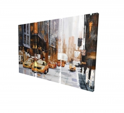 Canvas 24 x 36 - 3D - Big city street with yellow taxi