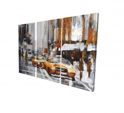 Canvas 24 x 36 - 3D - Abstract citystreet with yellow taxis