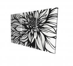 Canvas 24 x 36 - 3D - Dahlia flower outline style