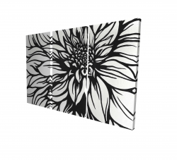 Canvas 40 x 60 - 3D - Dahlia flower outline style