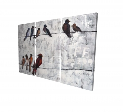Canvas 24 x 36 - 3D - Colorful birds on branches