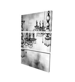 Toile 24 x 36 - 3D - Deux lustres en crystal