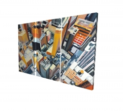 Canvas 24 x 36 - 3D - High top view of buildings in new york