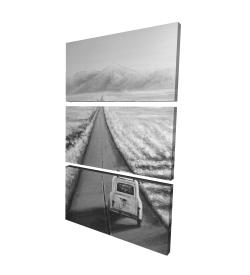 Toile 24 x 36 - 3D - Voiture sur la route