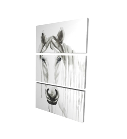 Canvas 24 x 36 - 3D - Solitary white horse