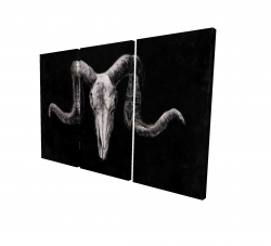 Canvas 24 x 36 - 3D - Skeleton skulls grunge style