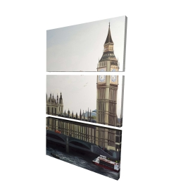 Canvas 24 x 36 - 3D - Big ben clock elizabeth tower in london
