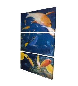 Canvas 24 x 36 - 3D - Colorful fish under the sea