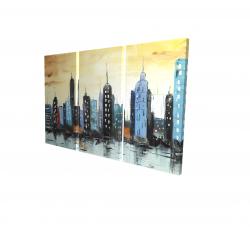 Canvas 24 x 36 - 3D - Skyline on cityscape
