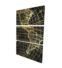 Canvas 24 x 36 - 3D - Black and marine world map globe