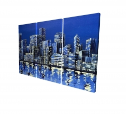 Canvas 24 x 36 - 3D - City in blue