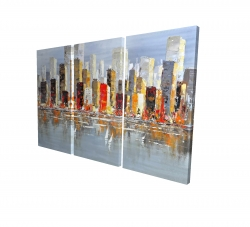 Canvas 24 x 36 - 3D - Colorful buildings with water reflection