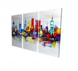 Canvas 24 x 36 - 3D - Abstract and colorful city
