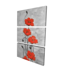 Canvas 24 x 36 - 3D - Big red flowers