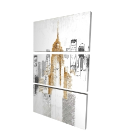Canvas 24 x 36 - 3D - Blurry sketch style cityscape