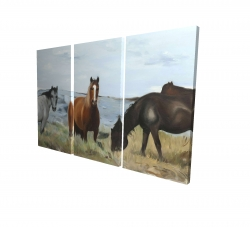 Canvas 24 x 36 - 3D - Horses eating in the meadow