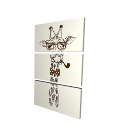 Canvas 24 x 36 - 3D - Funny giraffe with a pipe