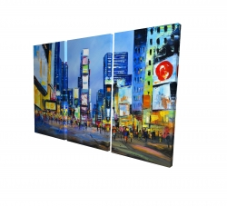 Canvas 24 x 36 - 3D - Cityscape with colorful ads