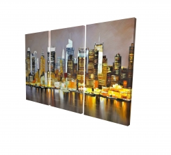 Canvas 24 x 36 - 3D - Texturized skyscrapers by night