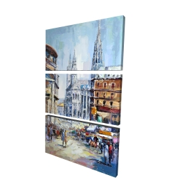 Canvas 24 x 36 - 3D - Busy street by a sunny day
