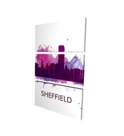 Canvas 24 x 36 - 3D - Sheffield city color splash silhouette