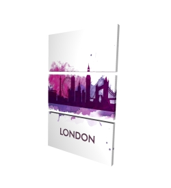 Canvas 24 x 36 - 3D - Purple silhouette of london