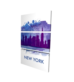 Canvas 40 x 60 - 3D - Blue silhouette of new york city