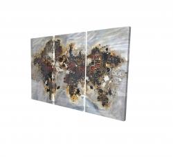 Toile 24 x 36 - 3D - Carte du monde texturée avec typographie