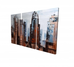 Canvas 24 x 36 - 3D - Sullen day in the city