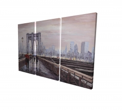 Canvas 24 x 36 - 3D - Brooklyn bridge with passersby