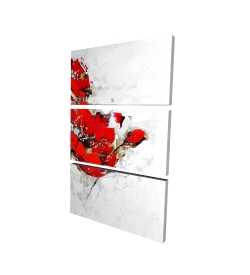 Canvas 24 x 36 - 3D - Abstract red flowers with texture