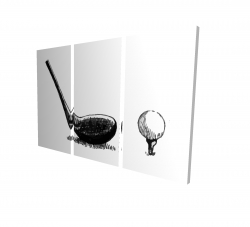 Canvas 40 x 60 - 3D - Illustration of a golf club bw