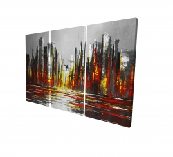 Canvas 24 x 36 - 3D - Abstract red skyline