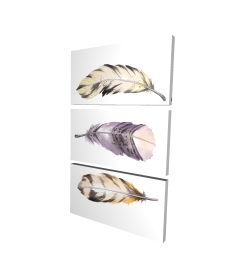 Toile 24 x 36 - 3D - Ensemble de plumes rayées horizontales