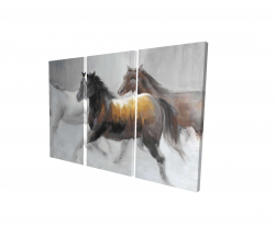 Canvas 24 x 36 - 3D - Herd of wild horses