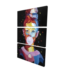 Canvas 24 x 36 - 3D - Colorful audrey hepburn portrait with bubblegum