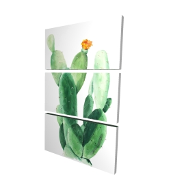 Canvas 24 x 36 - 3D - Watercolor paddle cactus with flower