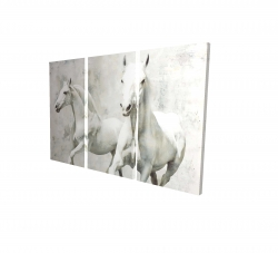 Canvas 24 x 36 - 3D - Two white horses running