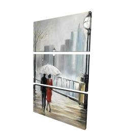 Canvas 24 x 36 - 3D - Couple walking under the rain