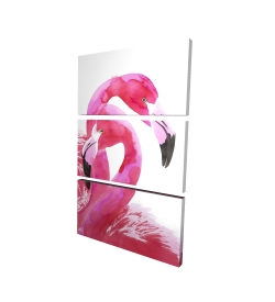 Canvas 40 x 60 - 3D - Watercolor flamingo love