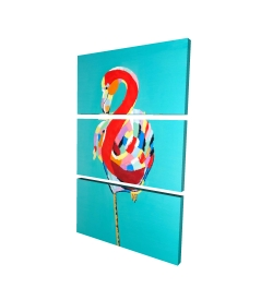 Canvas 24 x 36 - 3D - Colorful flamingo