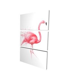 Canvas 24 x 36 - 3D - Pink flamingo watercolor
