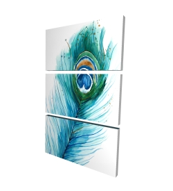 Canvas 24 x 36 - 3D - Long peacock feather