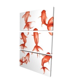 Canvas 40 x 60 - 3D - Small red fishes