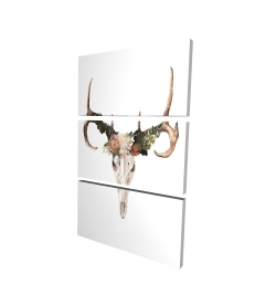 Canvas 24 x 36 - 3D - Deer skull with roses
