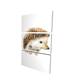 Canvas 24 x 36 - 3D - Watercolor hedgehog