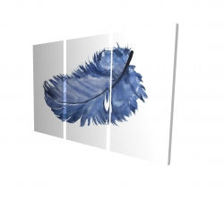 Canvas 24 x 36 - 3D - Watercolor blue feather