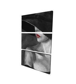 Toile 24 x 36 - 3D - Femme mystérieuse avec un chapeau