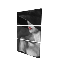 Canvas 24 x 36 - 3D - Mysterious woman with a hat